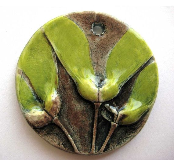Handmade Ceramic Pendant Maple Seed Wings by Mary Harding
