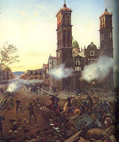 Pintura que relata la llegada de los Franceses al centro histórico de la ciudad de Puebla