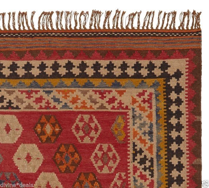 Pottery Barn Ferada Red Kilim Rug 8 X 10 Brand New Wool