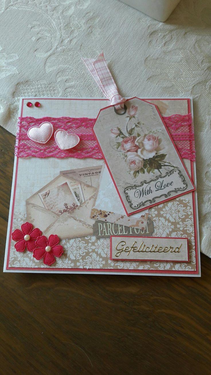 Lief kaartje in het rose gemaakt 🌸