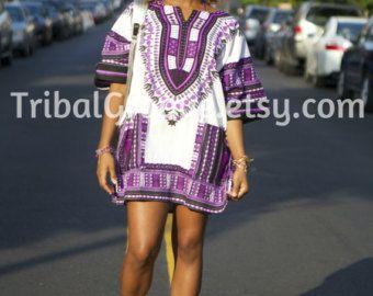 Unisex Dashiki Purple African Shirt Dress Kings by tribalgroove