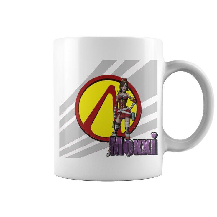 Borderlands Mad Moxxi mug sexy cartoon artwork Pandora Vault logo red yellow purple gray