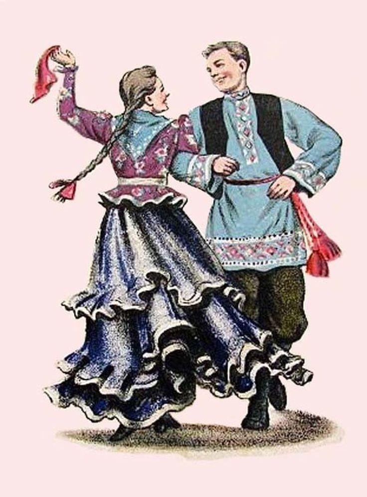 Русский танец (Давыдковская кадриль). Художник Николай Андреевич Лаков (1894-1970). 1951 г. Почтовая открытка.