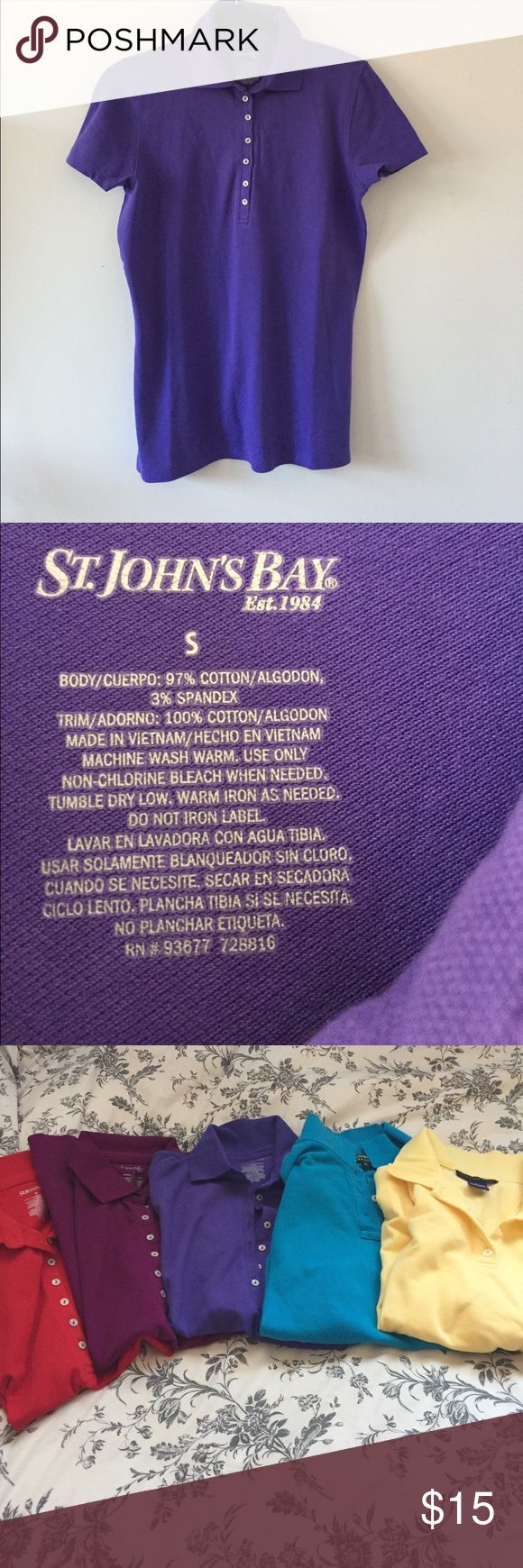 St. John's Bay Purple Polo Shirt St. John's Bay purple polo shirt. Size small. I also have polo shirts available in a few other colors listed in my closet. Bundle for a discount. St. John's Bay Tops