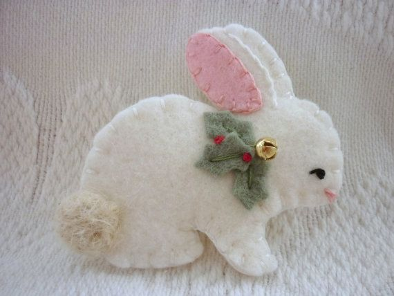 Felt Brooch Bunny Christmas Bells Holly Coat Pin Primitive Needle Felted Wool