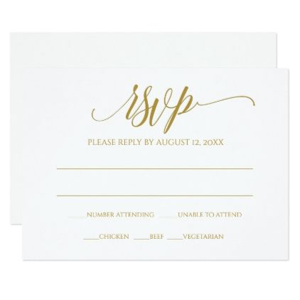 Gold RSVP Reply Card | Luxe Calligraphy (Gold) - calligraphy gifts custom personalize diy create your own