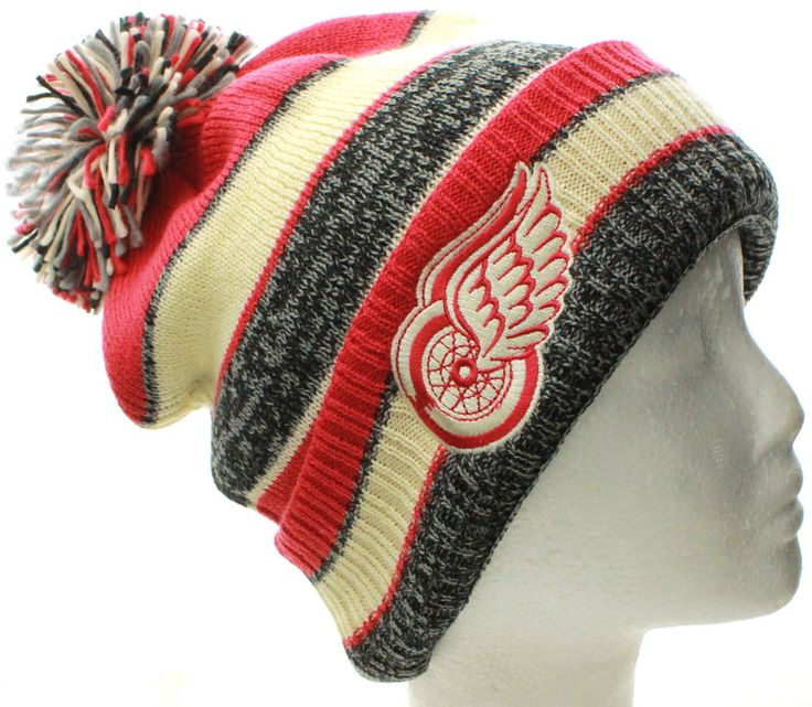 NHL Detroit Red Wings CCM Winter Classic Pom Pom Knit Cuff Beanie Hat Cap Gorra #CCM #DetroitRedWings