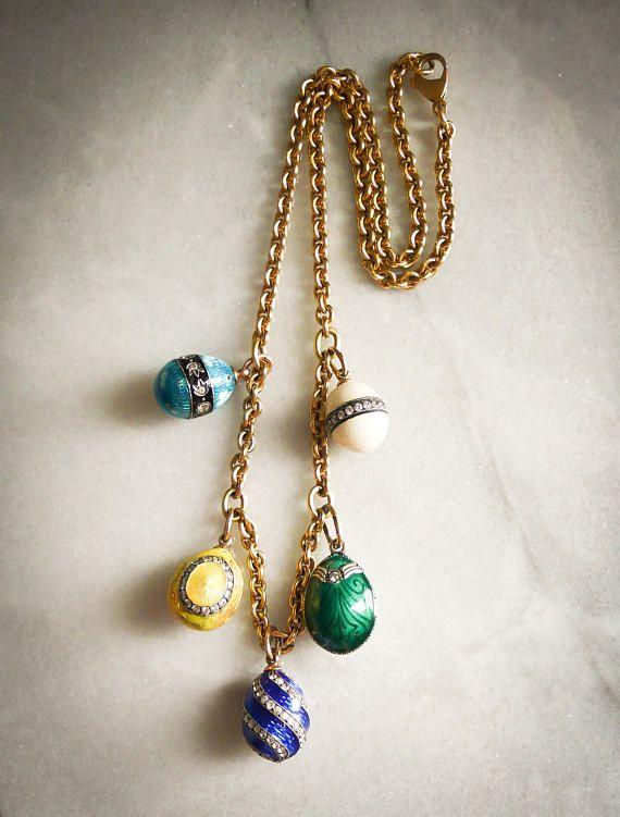 Vintage Fabergé Paris 18k Gold Chain with five Russian /