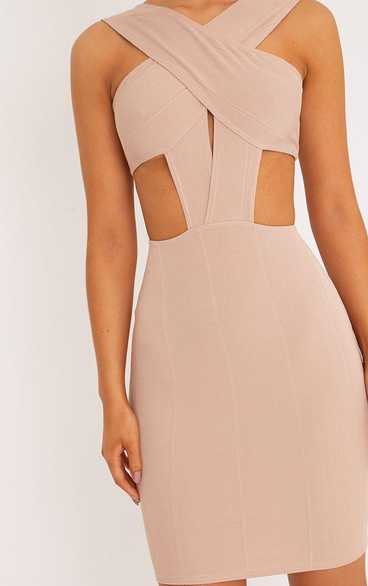 Briella Nude Bandage Bodycon Dress | Dresses | | PrettyLittleThing