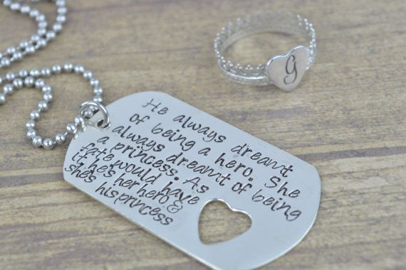 Sterling Silver Dog Tag and Princess Tiara Initial Heart Ring, Hand Stamped Jewelry, Deployment Jewelry, Deployments, Our Love Is Army Strong, Military Couples, Army Wife Jewelry by MissAshleyJewelry, $80.00