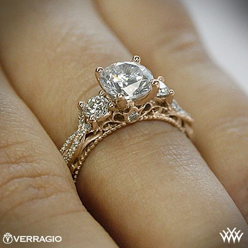 This 3 Stone Engagement Ring is from the Verragio Venetian Collection