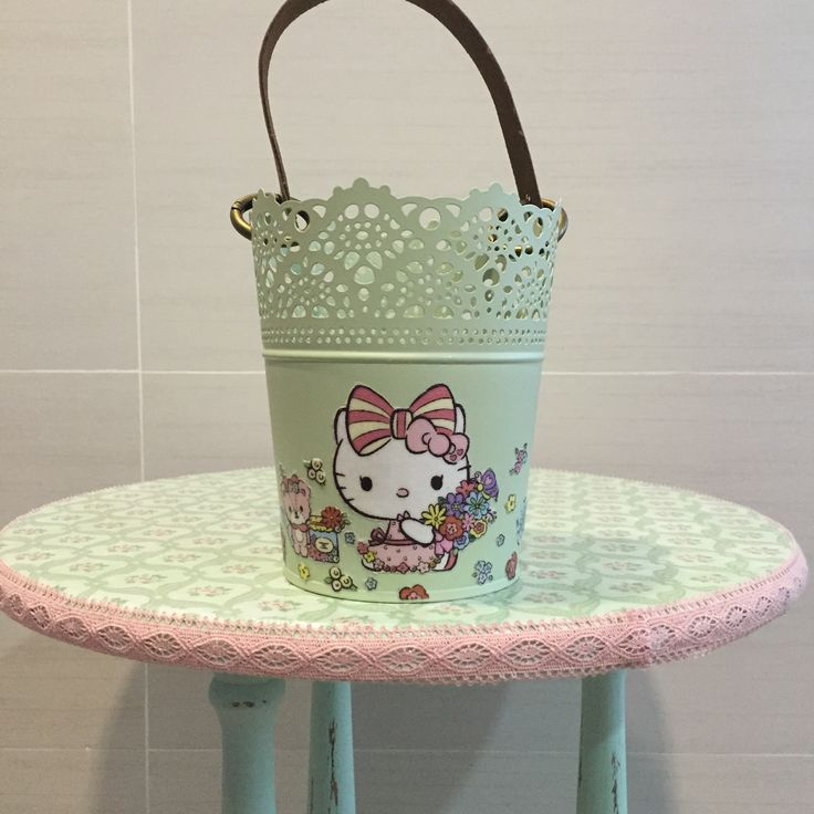 Container with detachable real leather handle with original hello kitty fabric  fleurdelis.tictail.com