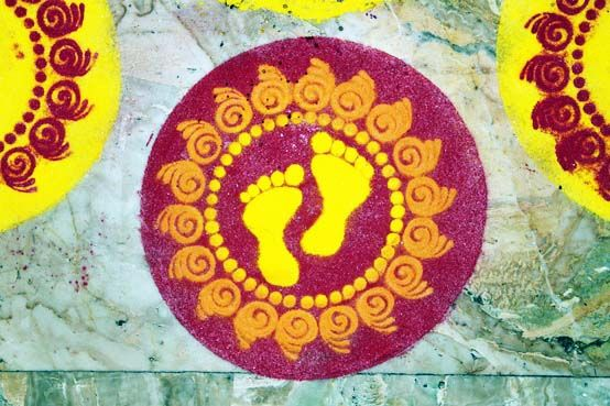 Laxmi Footprints Kolam for Entrance