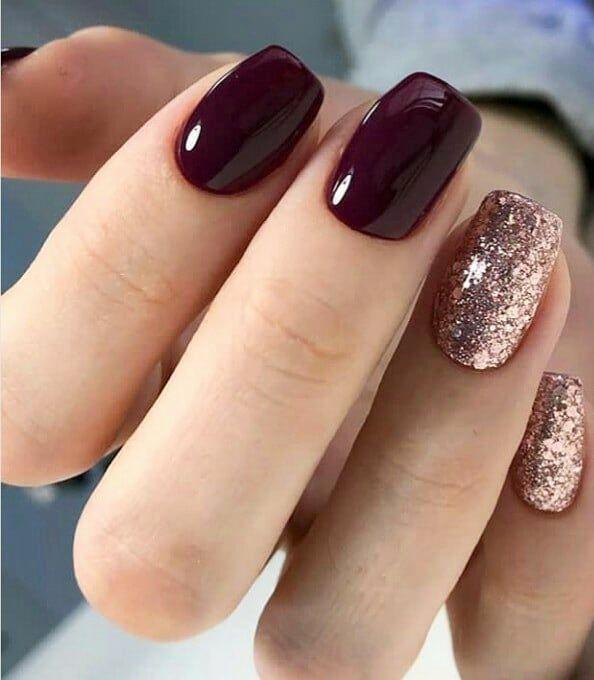 Esmaltado Semipermanente Color Vino Decoración Con Glitters