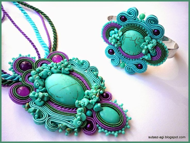 Turquoise&purple soutache pendant and bracelet