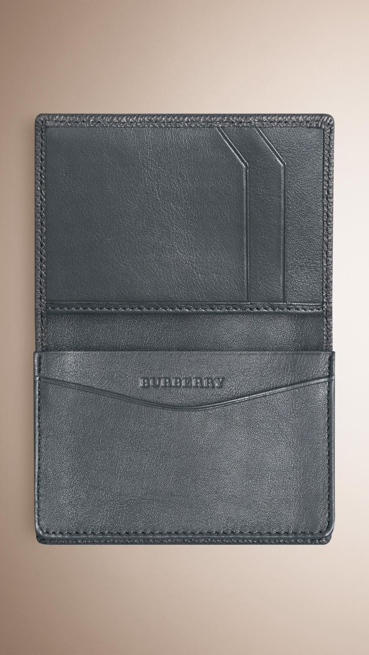 London Leather Card Case Stone Grey   Burberry