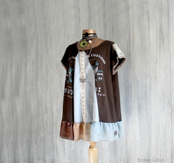 Plus Size Smock Top Lagenlook Clothing Brown Boho Tunic Women's A-Line Shirt Eco Upcycled Clothes Bohemian Style Summer Top 3X 'WHITNEY'