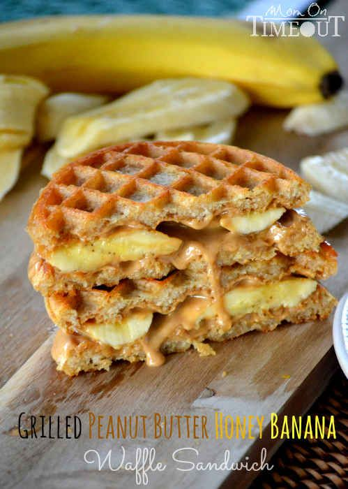 Grilled Peanut Butter Honey Banana Waffle Sandwich | 27 Truly Magnificent Peanut Butter Desserts