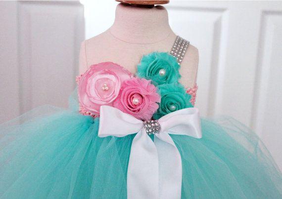 Beautiful Aqua Tutu Dress BabyTutu Dress by ClassySassyElegance