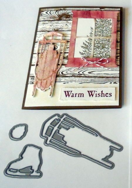 Winter Wishes dies by dave~ sled skate pine cone & stampin up ribbon~ #stampinup