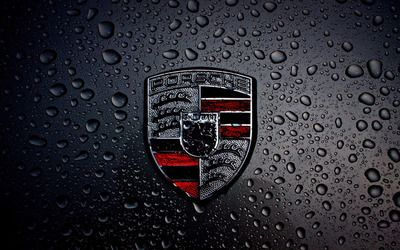 Wet Porsche logo wallpaper