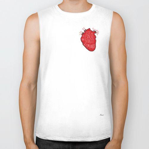 Este es el espacio que dejaste al marcharte (this is the space you left) - heart t-shirt by Villaraco  BIKER TANK / WHITE $28.00
