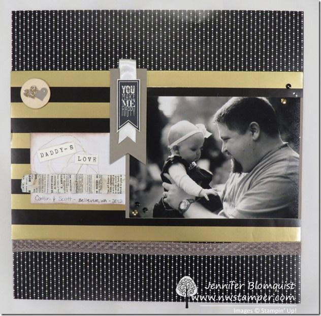 Black & White with Gold Daddy's Love Scrapbook Layout & a Card using Winter Wonderland designer paper - Northwest Stamper