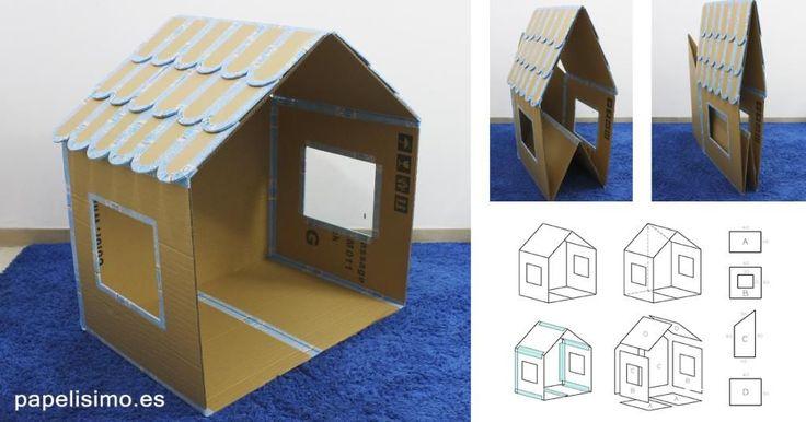 Cómo hacer casa de cartón para niños (Plegable)