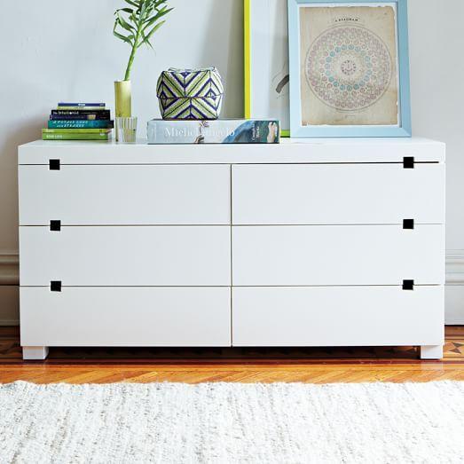 "Square Cutout 6-Drawer Dresser - White | West Elm 56""w x 18""d x 29""h."