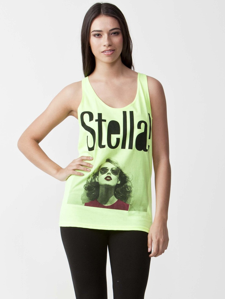Stella - Fluro Green Print Singlet with round neckline. Contrast print with sleeveless design. Regular fit cut and length. $38.50