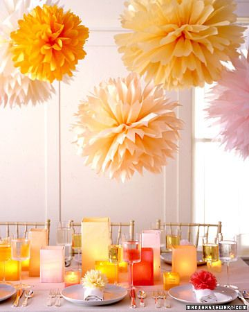 Tissue Paper Pom Pom decorations. I love making tissue paper flowers just
