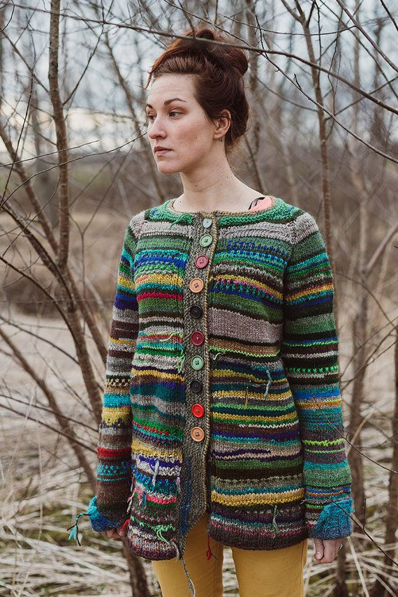 Handmade knitted bright and colorful women cardigan by TASSSHA