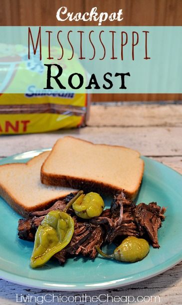 **Crockpot Recipe: Mississippi Roast ** If all recipes could be this easy and delicious. If you can place ingredients in a crockpot- you can make this amazing roast. #crockpot #recipe