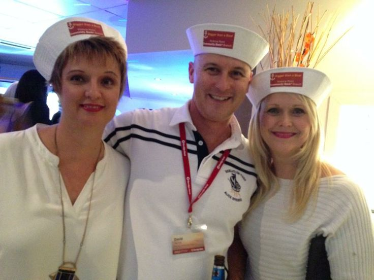 Sailors Sandra and Justine with the man behind much of our marketing, David Van Eyk. (Can you guess what the theme was for our pre-conference get together?)
