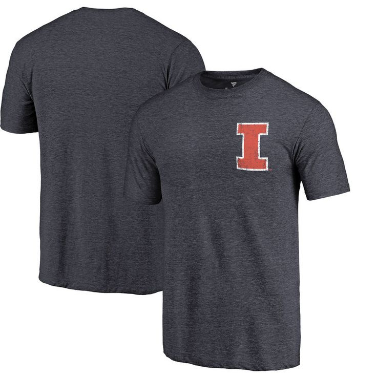 Illinois Fighting Illini Fanatics Branded Left Chest Distressed Logo Tri-Blend T-Shirt - Navy Heather
