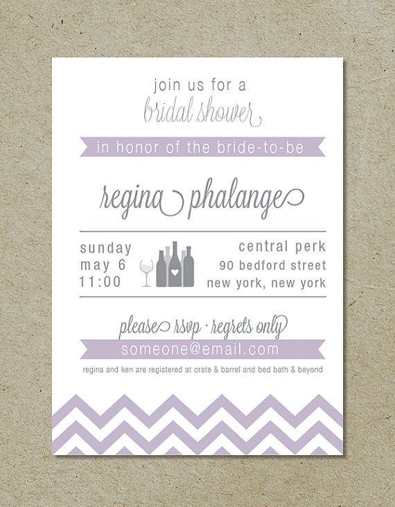 modern chevron bridal shower invitation / wine by brightdesignscle, $18.00