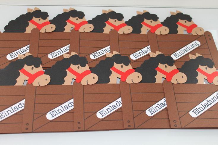 einladungen - einladungskarten kindergeburtstag pferde - ein, Einladungskarten