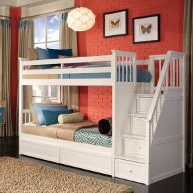 White Morgan Stair Twin Bunk Beautiful Project ♥ Discover the season's newest designs and inspirations by Rosenberry. | Visit us at http://kidsbedroomideas.eu/ #furnituredesign #kidbedroom #kidsroom #kidfriendly #bedroomdecor