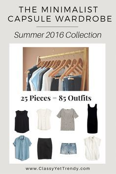 Minimalist Capsule Wardrobe Summer 2016 E-Book: Turn 25 clothes and shoes into 85 outfits! Neutral colors with simple minimal styles.