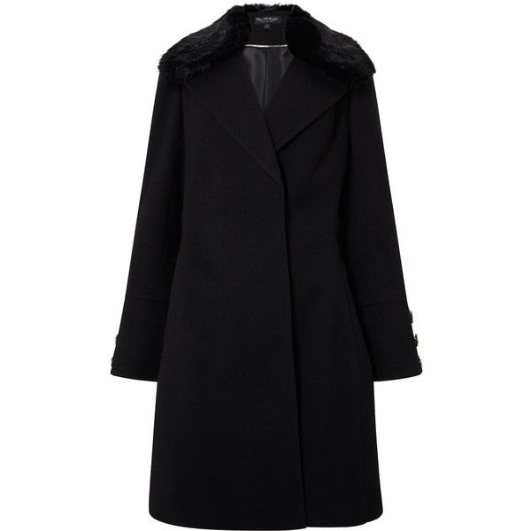 Miss Selfridge Fur Trim Belted Coat Black ($82) ❤ liked on Polyvore featuring outerwear, coats, sale women coats & jackets, miss selfridge coats, miss selfridge, belted coats, belt coat and coat with belt