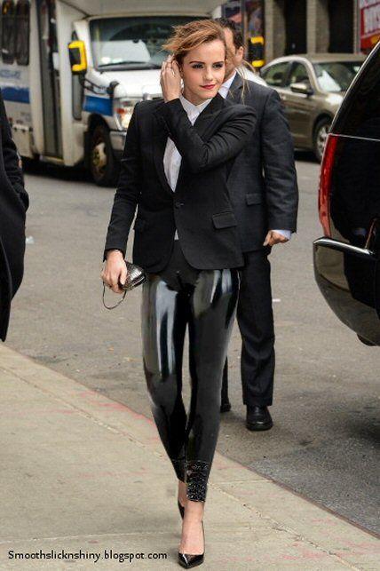 Emma Watson Wearing Latex Leggings By Andylatex On