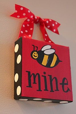 DIY Bee mine canvas.Great for Valentine's Day decoration.