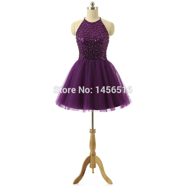 Hot Sale Tulle Beaded Sequins Halter neck Ball Gown Mini Short Modest Cheap Cute Purple Homecoming Dresses Real Sample 2017
