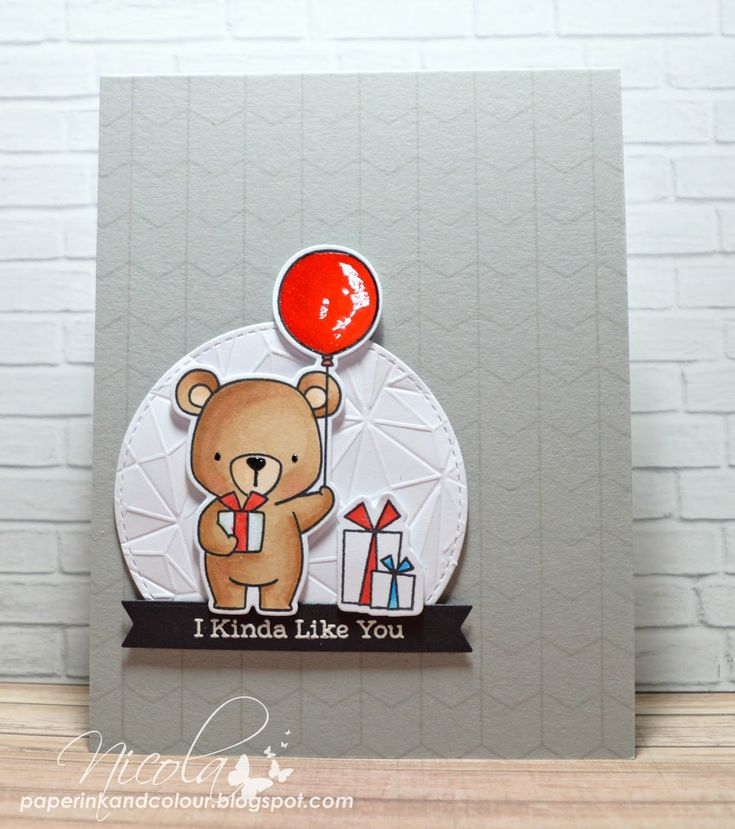 card critters bear balloon MFT beary special birthday Die-namics #mftstamps Paper Ink & Colour: I Kinda Like You Card - MFT Beary Special Birthday