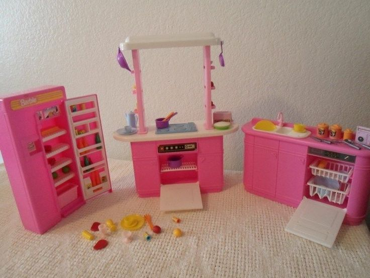 Barbie kitchen set with accessories refrigerator stove for Kitchen set pinterest