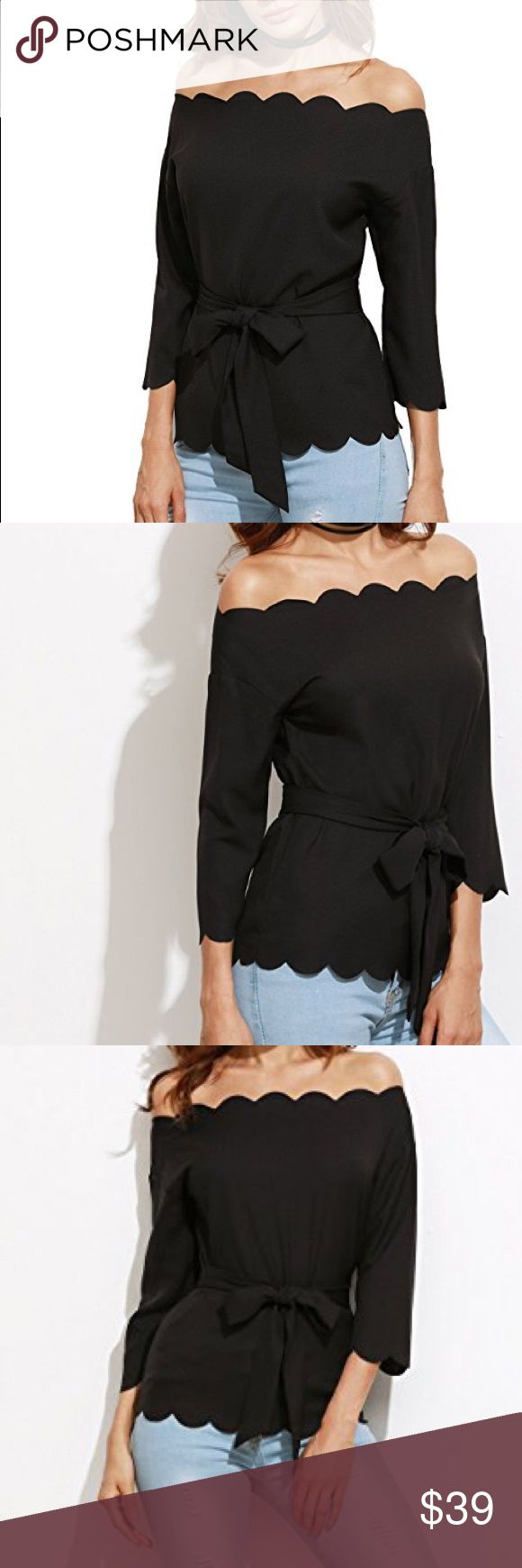Scalloped cold shoulder top Brand new with tags black cold shoulder scalloped cut blouse with waist bow tie. 100% polyester. Available sizes are small, medium, and large. Runs slightly small so I recommend ordering one size up from your normal size.  POSH RULES ONLY NO PP NO TRADES NO LOWBALL OFFERS  HAPPY POSHING! boutique Tops Tunics
