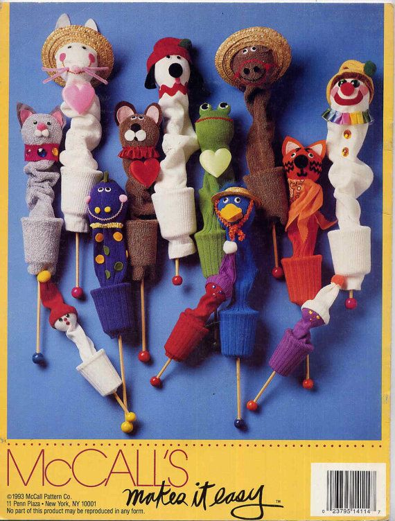 Vintage No Sew Easy Pop-Up Sock Puppets Craft Book by allsfairyvintage                                                                                                                                                                                 More