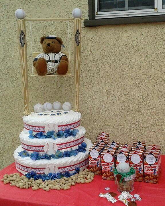 Baby Boy Themed Cake : Baseball Baby Boy Theme Diaper Cake Jamie s Baby Shower ...