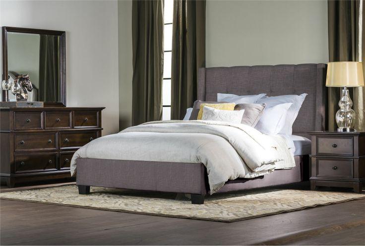Damon california king upholstered platform bed beds platform and platform beds - Bedspreads for platform beds ...