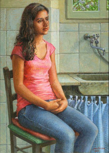 Sara model schilderij in olieverf van Joke Frima 29 x 38 cm